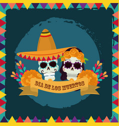 day dead couple skulls with hat vector image