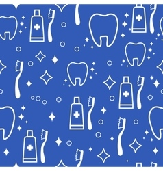 Dental seamless pattern white teeth on vector