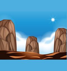 Desert scene with large boulders vector
