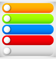 empty long buttons with circles 5 colors vector image