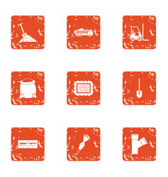 excavate icons set grunge style vector image