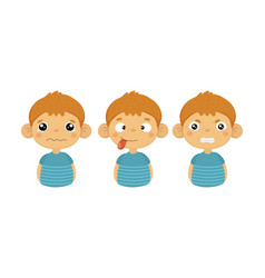 Flat set of cute little boy with various vector