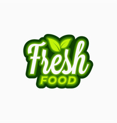 fresh food logo lettering food with green vector image