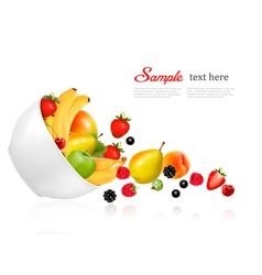 Fruit and berries falling from a bowl Concept of vector