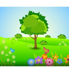 Green Landscape spring with Flowers vector