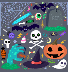 Halloween elements set cartoon vector
