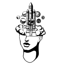 Hand drawn of female head with rocket and planets vector