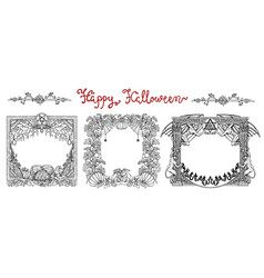 hand drawn set with halloween frames vector image