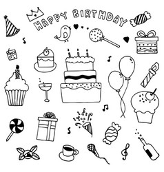 Happy birthday party elements set hand drawn of vector