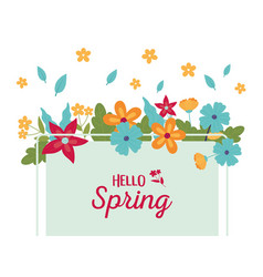 happy spring season flowers frame leaves vector image