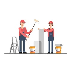 House repair Woman and man worker vector