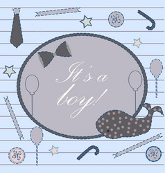 Its a boy announcement greeting card with message vector