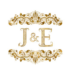 j and e vintage initials logo symbol letters vector image