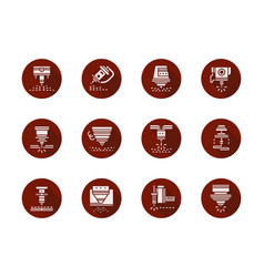 Laser machine heads round red icons set vector