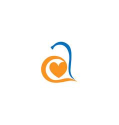 letter a alphabet love logo vector image