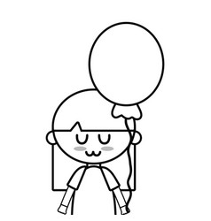 line beauty girl with balloon and hairstyle design vector image