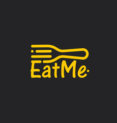 linear fork with eat me text line art icon on vector image