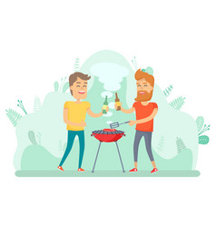 man frying meat friends picnic holiday vector image