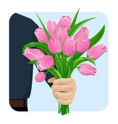 Man gives flowers-02 vector