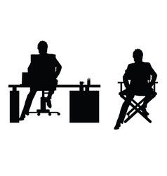 man silhouette sitting in office vector image