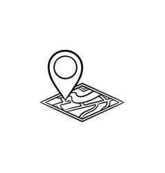 map pin hand drawn outline doodle icon vector image