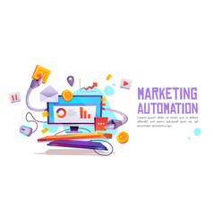 Marketing automation banner technology for seo vector