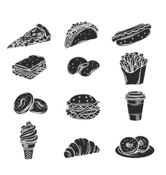 Monochrome decorative icons fast food vector