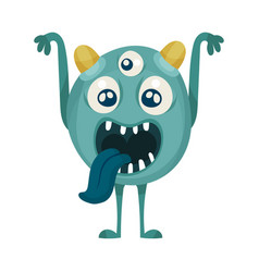 Naughty multiocular monster showing tongue vector