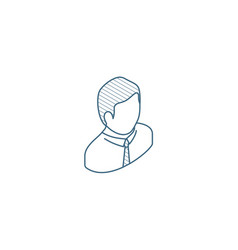 Office worker isometric icon 3d line art vector