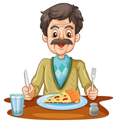 Old man eating pizza on the table vector image