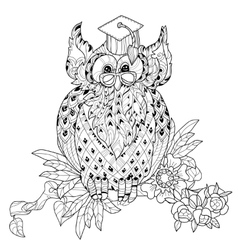 Old Owl on tree branch - hand drawn doodle vector