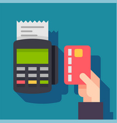 payment terminal pos machine with credit card vector image