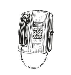 payphone retro sketch public phone in vintage vector image