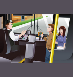 People paying for bus fare vector
