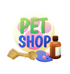 Pet shop poster and items vector