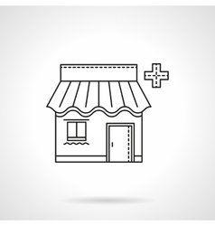 Pharmacy facade flat thin line icon vector image