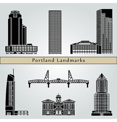 Portland landmarks and monuments vector