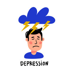 Psychology depression depressed man character vector