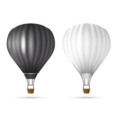 Realistic hot air balloon white and black color vector