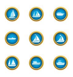 Regatta icons set flat style vector