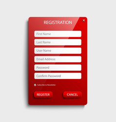 Register web screen with red button template vector