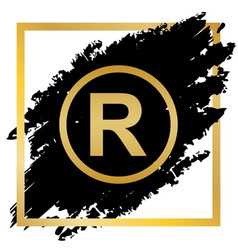 Registered trademark sign golden icon at vector