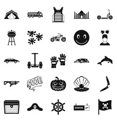 Relax at the hotels icons set simple style vector