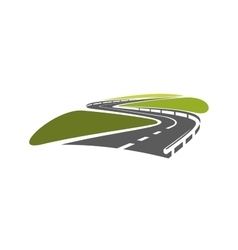 Road with hairpin bends and guardrails vector