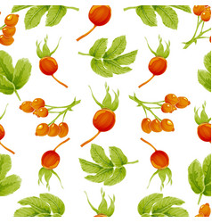 seamless autumn pattern with berries and leaves vector image