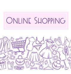 seamless border fashion shop vector image