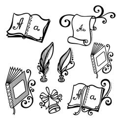 Set of Contour School Supplies vector