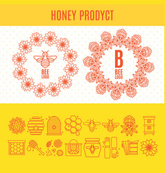 Set of icons an apiary and beekeeping in a linear vector