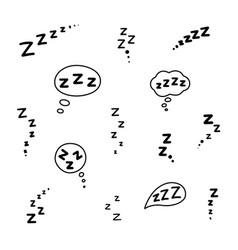 set zzz sleep icon hand drawn zzzz in speech vector image