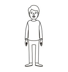 silhouette cartoon full body guy with hairstyle vector image